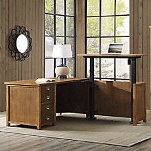 "Heritage L-Desk with Adjustable Height Return - 65""W, 8822572"