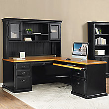 "Kathy Ireland Southampton Onyx Right Return L-Desk with Hutch - 70""W, 8823096"