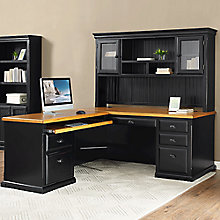 "Kathy Ireland Southampton Onyx Left Return L-Desk with Hutch - 70""W, 8823097"