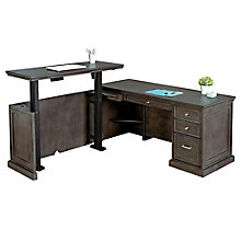 "Statesman Adjustable Height Left L-Desk 65""W, 8828464"