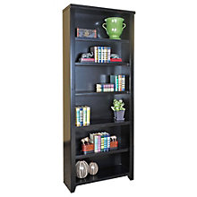 "Tribeca Loft Black Six Shelf Open Bookcase - 84"" H, MRN-10281"