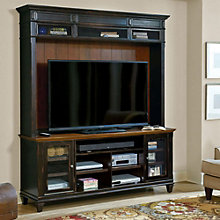 "Hartford Two Tone Glass Door TV Stand with Hutch - 75""W, 8803417"