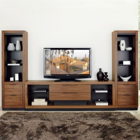 "Shown framing the 80""W Stratus media console"