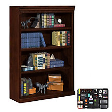 Huntington Club Four Shelf Bookcase with Grid-It Desk Organizer, 8804577