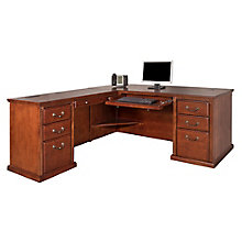 "Huntington Burnished Oak L-Desk with Left or Right Return- 68.25""W, 8826959"