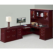 Huntington Club Left L-Desk Hutch and File Set