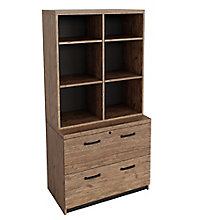 "Two Drawer Lateral File with Bookcase Hutch - 36""W , 8826898"