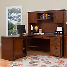 Mission Pasadena L-Desk with Left Return and Hutch, OFG-LD1101
