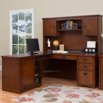Admirable Mission Pasadena L Desk With Hutch Officefurniture Com Home Interior And Landscaping Ponolsignezvosmurscom