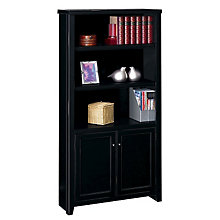 "Tribeca Loft Black Five Shelf Bookcase with Doors - 70"" H, MRN-TL3670D"