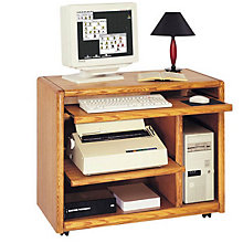 Medium Oak Mobile Computer Cart Mrt Oo110