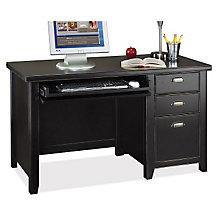Tribeca Loft Black Single Pedestal Compact Desk, 8828711