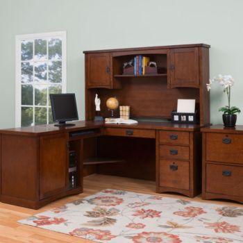 Mission Pasadena L-Desk w/ Hutch & Vertical File ...