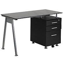 Three Drawer Glass Top Desk, 8812309