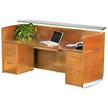 "Napoli Glass Counter Double Pedestal Reception Station - 87.25""W, 8803233"