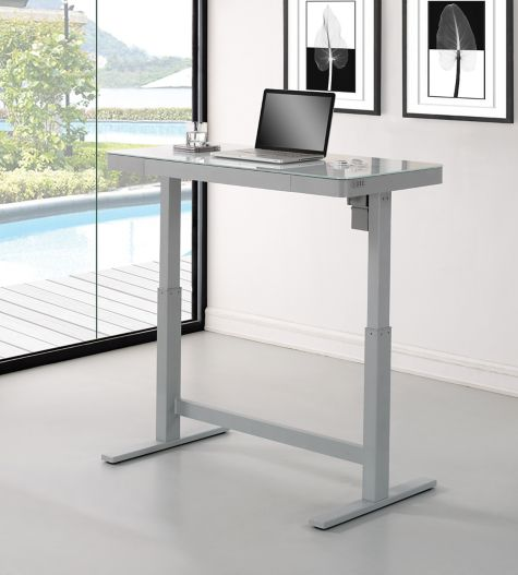 omni adjustable height glass top desk 4725w 8808140