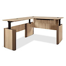 "Allure Height Adjustable Reversible L-Desk - 72""W x 84""D, 8828481"