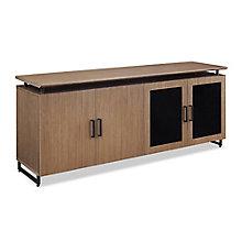 "Summit 72""W Low Wall Cabinet Wood/Glass Doors, 8828371"