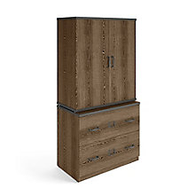 Rivet Lateral File with Stacking Bookcase, 8829223