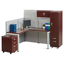 Instant Office L-Desk Station with Wardrobe, 8803423