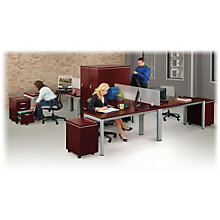 Compact L-Desk Office Set with Privacy Panels, 8804986