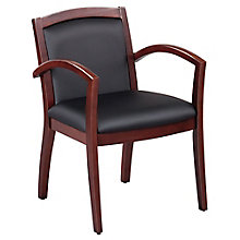 Expressions Set of 6 Full Back Faux Leather Wood Frame Chairs, 8804311