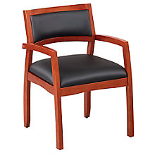 Expressions Set of Four Half Back Faux Leather Wood Frame Chairs, 8804317