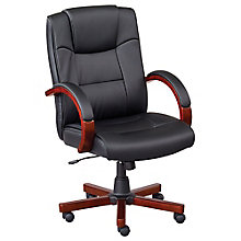 Wood Frame Faux Leather Conference Chair, 8804288