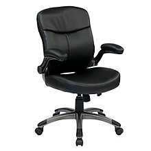 Flip Arm Computer Chair in Bonded Leather, OFF-10949