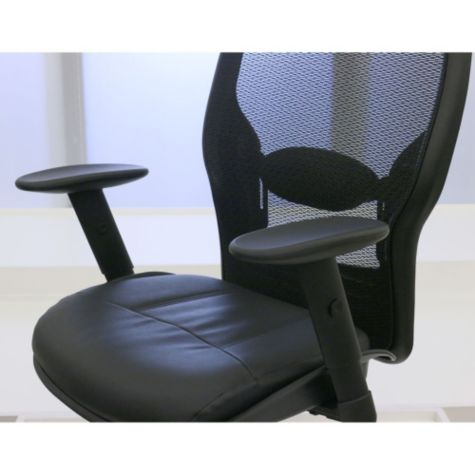 Mesh back and bonded leather seat