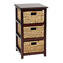 Seabrook Three Tier Storage Unit with Natural Baskets, 8801790