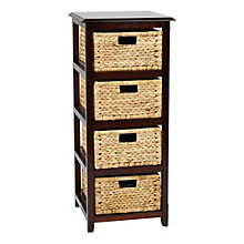 Seabrook Four Tier Storage Unit with Natural Baskets, 8801791