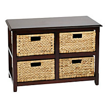 Seabrook Four Section Storage Unit with Natural Baskets, 8801792
