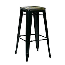 "Bristow Distressed Metal Barstool with Wood Seat - 26""H, 8803135"