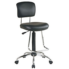 Black Vinyl Stool with Teardrop Footrest, OFF-DC420V-3