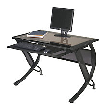 Black Steel Computer Desk with Bronze Glass Top, OFF-HZN25