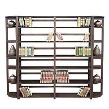 Wood Six-Shelf Folding Bookcase Wall Unit, OFG-BC0026