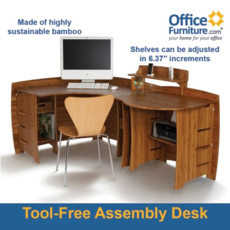 . 78 W Legare Bamboo Corner Desk w Peninsula   OfficeFurniture com