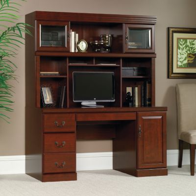 Heritage Hill Computer Credenza With Hutch, OFG CH0028