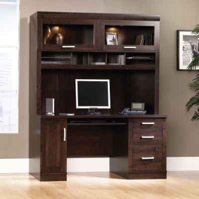 Office Port Dark Alder Computer Credenza With Hutch, OFG CH0030