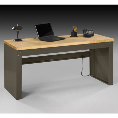 Heavy duty steel desk wood top ofg ds0048 for Metal desk with wood top
