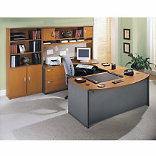 Left Bridge Bow Front U-Desk with Storage, OFG-EX1020