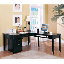 Tribeca Loft Black L-Desk and Rolling File Set, OFG-LD1081