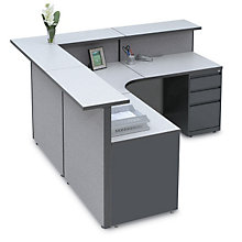 Pewter Haze Large Reception L-Desk with Patterned Fabric , OFG-LD1147
