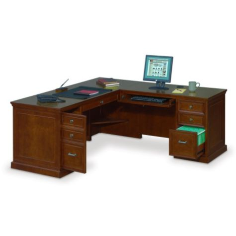 Executive L Shaped Desk with Right Return   69 W x 76 D. Traditional Desks  Antique Inspired Designs   OfficeFurniture com