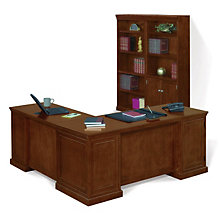 Executive L Shaped Desk And Bookcase Set, OFG LD1220
