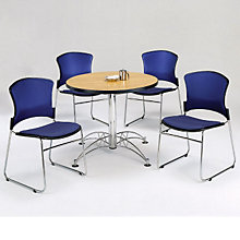 "Breakroom Set - Four Armless Fabric Chairs and 36"" Round Table, OFG-TS1019"