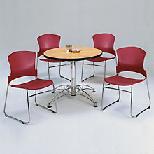 "Breakroom Set - Four Plastic Stack Chairs and 36"" Round Table, OFG-TS1020"