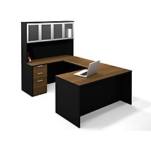 Pro Concept U-Desk with Glass Door Hutch, OFG-UD0068