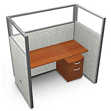 """RiZe Single Workstation with Clear Top and Mobile File - 60""""W x 63""""H, 8805292"""